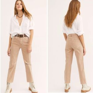 Free People Dakota Straight Tan Distressed Jeans